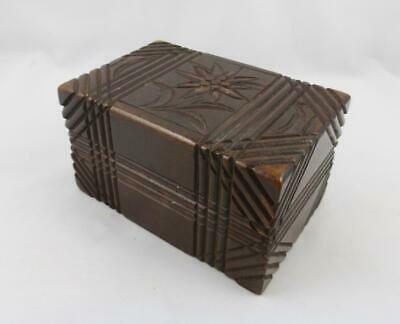 Antique Black Forest Carved Wooden Edelweiss Puzzle Jewellery Trinket Box c 1900