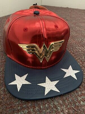 the latest 1eac3 b4088 Wonder Woman Stars Logo Suit UP DC Comics Faux Leather PU Snap Back Hat Nwt