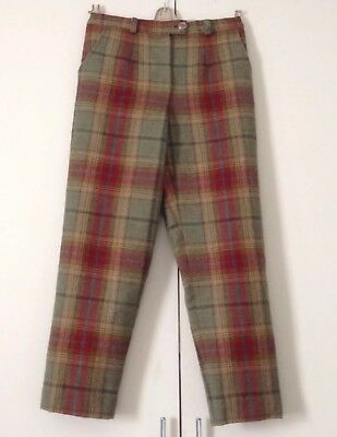 Gorgeous Pristine Tartan Wool Plaid Lined Trousers Green Sand Rust Teal W 30-32""