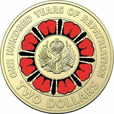 2019 $2 100 years of repatriation  RED COLOURED COIN