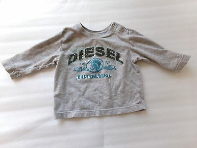 """Boys DIESEL Designer Gray """"Painted"""" Cordy Long Sleeve T-Shirt Size 9 Months 9M"""