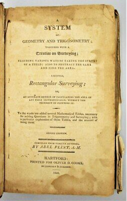 A SYSTEM OF GEOMETRY AND TRIGONOMETRY, by Abel Flint -1808 Worksheets ExLibris