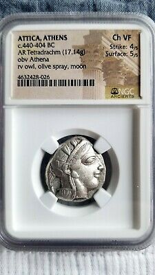 Attica, Athens Ancient Greece AR tetradrachm NGC Choice VF 4/5 strike