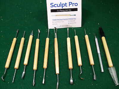 """SCULPTING SHAPING SMOOTHING 11pc POTTERY TOOL SET CLAY WAX ARTS CRAFTS 7//9/""""4PT11"""