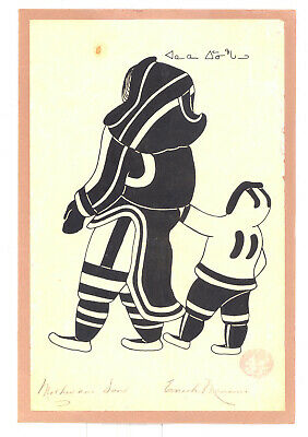 "ENOOK MANOMIE INUIT ESKIMO ART ""Mother & Son"" HAND SILK SCREEN PRINT SIGNED"