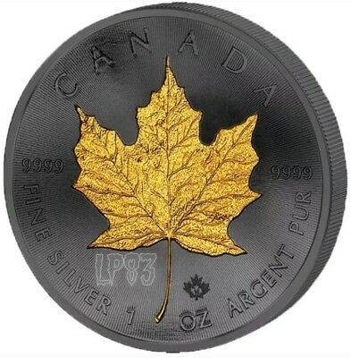 2015 1 oz CANADIAN MAPLE LEAF GOLDEN ENIGMA Ruthenium and Gold Gilded.