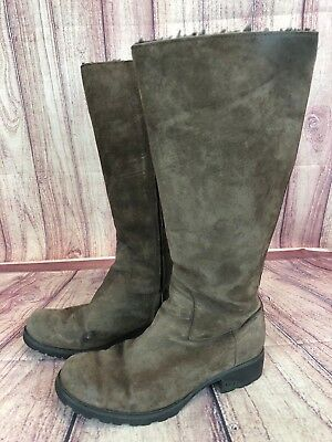 23a917b4bfb UGG AUSTRALIA BLACK Shearling Fur Ankle Boots Suede Cuffed Booties ...