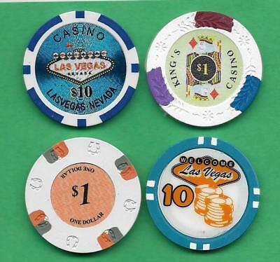 Lot of 4 Poker Chips Lucky Horseshoe, King's Casino & Welcome To Las Vegas