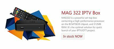 Original MAG322/323 HEVC H.265 IPTV Set Top Box Latest Model To Replace MAG 254