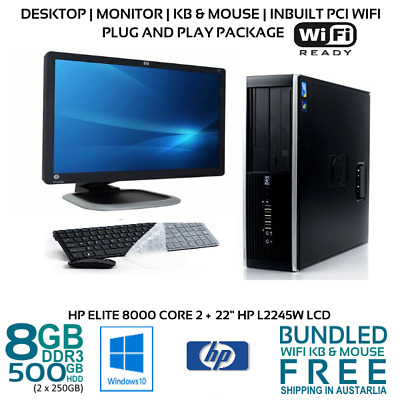 "Computer Package HP Elite 8000 Core2 4/8GB 500GB 22/23/24"" LCD Win10 KB Wifi"