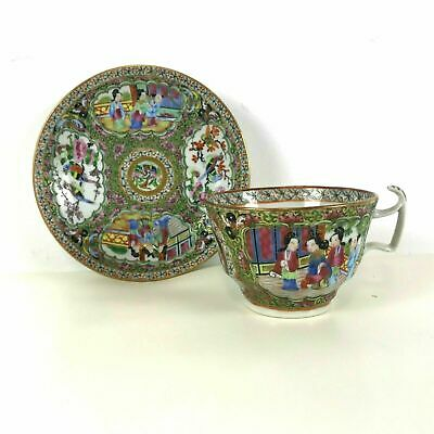 19th Century Rose Medallion Tea Cup and Saucer