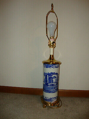 """Spode Italian Blue Room Collection Accent 29"""" Table Lamp Electric Working"""