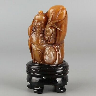 Chinese Exquisite Hand-carved Old man Carving Shoushan Stone seal
