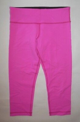 LULULEMON WUNDER UNDER CROP PANTS BRIGHT PINK YOGA SPIN PILATES GYM RUN sz 8