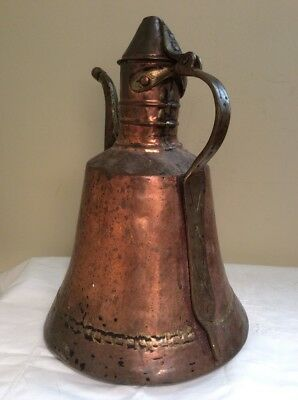 Antique Middle East Persian Turkish Coffee Copper Water Kettle Pot Used 1920's