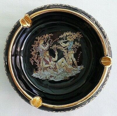 Grecian Design Dark Blue / Black,  24 K Gold Trim Ashtray, Hand Made in Greece