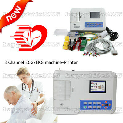 HOT PRIEC 3 Channel 12 Leed Portable ECG/EKG Machine+printer+software