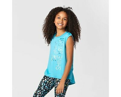 c9 by Champion Girls Graphic Turquoise Performance Muscle Tank SHINE ON BRIGHT
