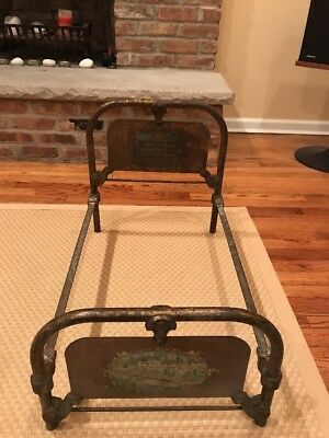 Fancy 1932 Cast Iron Doll Bed Vintage Antique Art Bed Co Chicago -Needs Restored