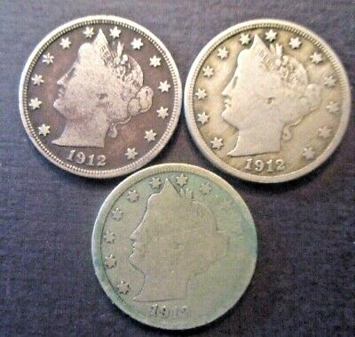 Lot of 3  1912 D Liberty Head Nickels, Circulated Coins as shown