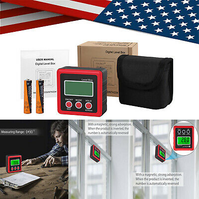 LCD-Digital Electronic Magnetic Protractor Sea Level Box Angle Meter Tester