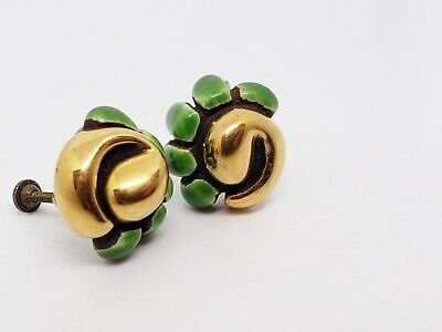 Vintage Hand Made Ceramic Clip Earrings ARTS AND CRAFTS ERA