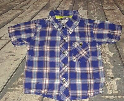 Children's Place baby boy blue checkered button-front short sleeve top size 6/9M