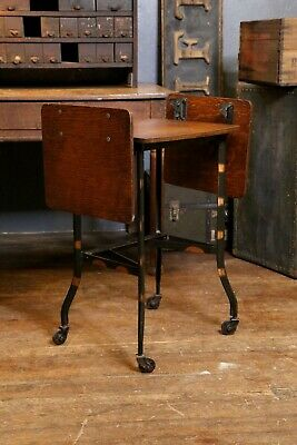 Vintage Typewriter Stand Japanned Legs on Caster Wheels Side Table Industrial