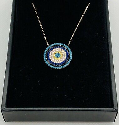 Evil Eye Luck Charm Pendant Turkish Nazar Greek .925 Sterling Silver CZ Necklace