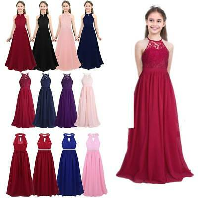 Flower Girl Dress Princess Long Maxi Party Wedding Bridesmaid Formal Gown Dress