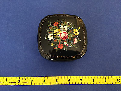 RUSSIAN hand painted FLOWERS Black/red Enamel Metal TRINKET BOX POWDER JAR