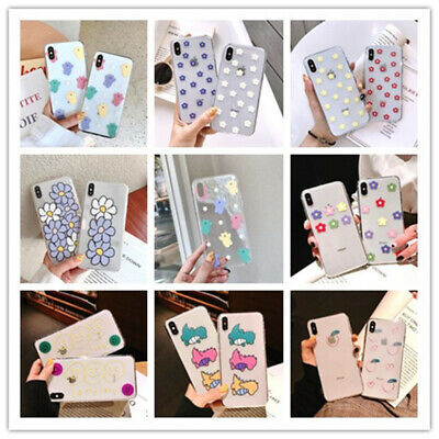 Cute Flower Pattern Shockproof Soft TPU Back Case Cover For iPhone Xs Max Xr 8 7