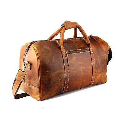 "20"" Tan Leather Duffle Bag Travel Weekend Luggage Overnight Carryon Handbag"