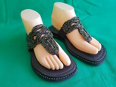 9e23b86dac8 Alegria Jewel Beaded Thong Sandals Womens Brown Leather Shoes EU 38 US 7