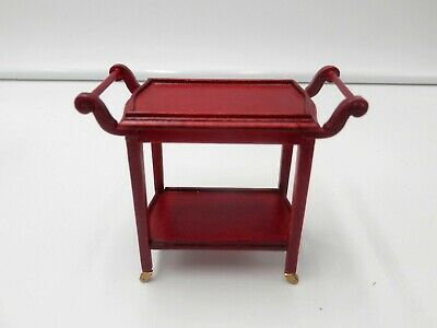 Dollhouse Buffet Table Serving Cart 1:12 Scale Mahogany Color Dinning Furniture