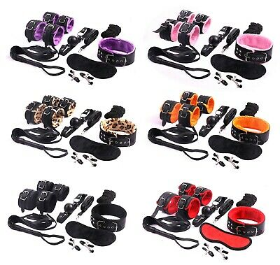 8pcs/kit-Adult-Sex-SM-Toys-Handcuffs-Cuffs-Strap-Whip-Rope-Neck-Bandage 6 styles
