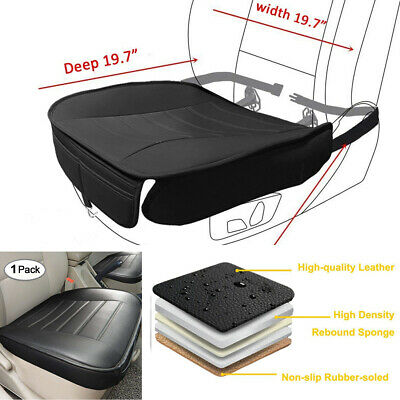 Car Front Seats Cover PU Leather Single Seat Protector Cushion Breathable Black
