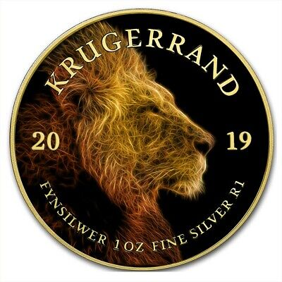 2019 1 Oz Silver The Africa Big Five VOLTAIC LION KRUGERRAND Coin WITH 24K GOLD.