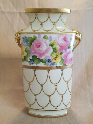 Antique Nippon Hand Painted Elephant Handled Roses and Gold- BEAUTIFUL VASE!!!