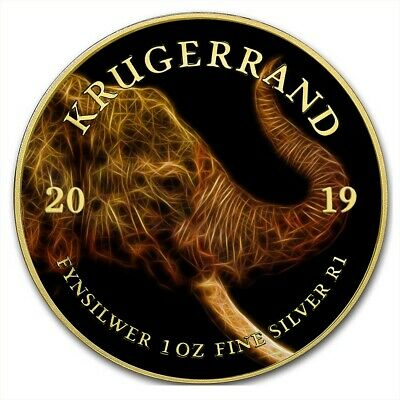 2019 1 Oz Silver South Africa BIG FIVE ELEPHANT KRUGERRAND Coin WITH 24K GOLD.