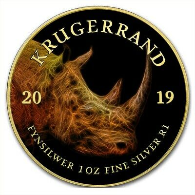 2019 1 Oz Silver South Africa BIG FIVE RHINO KRUGERRAND Coin WITH 24K GOLD.