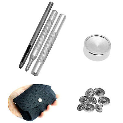 15mm Silver S Spring Press Studs Fastener 4 Parts With Hand Tools For Leather