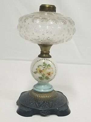 Antique Victorian Oil Kerosene Lamp Cast Iron, Brass & Glass W/ Painted Pansies