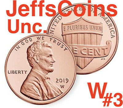 2019 W UNCIRCULATED #3 of 3 Lincoln Shield Cent West Point Penny Union US Mint