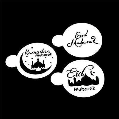 3pcs/set Mosque Eid Mubarak Ramadan Design Coffee Stencils Cake Template Tool HV