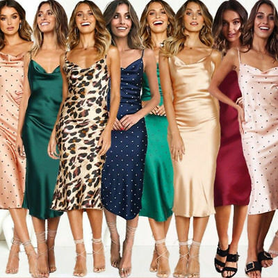 Womens Satin Silk Strappy Midi Summer Dress Laides Cocktail Evening Party Vest