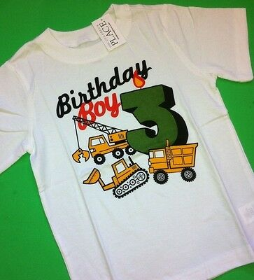 ~NEW~ 3rd Birthday 3 Years Baby Boys Graphic Shirt 3T Gift! White Truck Party SS