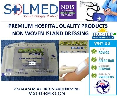 50 X ISLAND WOUND DRESSING 7.5cm x 5cm STERILE AsGUARD DRESSING WITH PAD