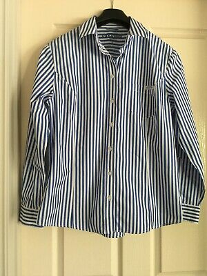 RM Williams Blue White Striped Long Sleeve Fitted Shirt Size 14 As New