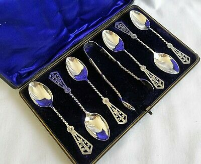 Fine Victorian Silver Spoons and Tongs Barley Twist Stems & Pierced Tops 1876